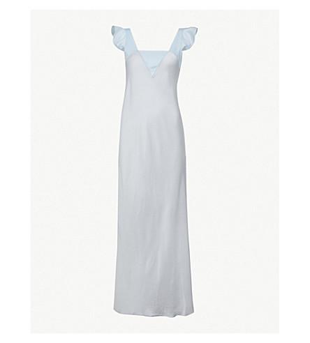 THREE GRACES LONDON Celia silk-satin long night dress (Blue