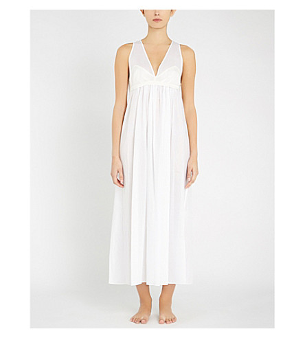 THREE GRACES LONDON 珍珠棉质巴厘纱长的夜礼服 (白色