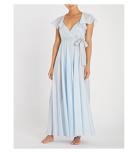 THREE GRACES LONDON Laurie cotton-voile night dress (Blue