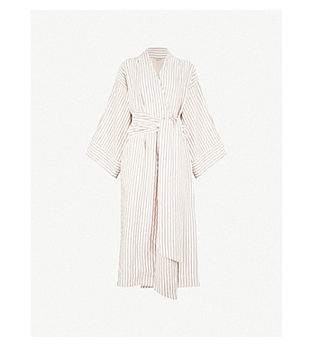 THREE GRACES LONDON Isabella cotton-linen robe (Lyra+stripe+cotton