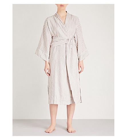THREE GRACES LONDON Isabella cotton-linen robe (Lyra+stripe+cotton