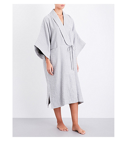 THREE GRACES LONDON Constance cotton-blend robe (Slate+ecru+stripe