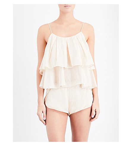 THREE GRACES LONDON Francis ruffled cotton top (Nude