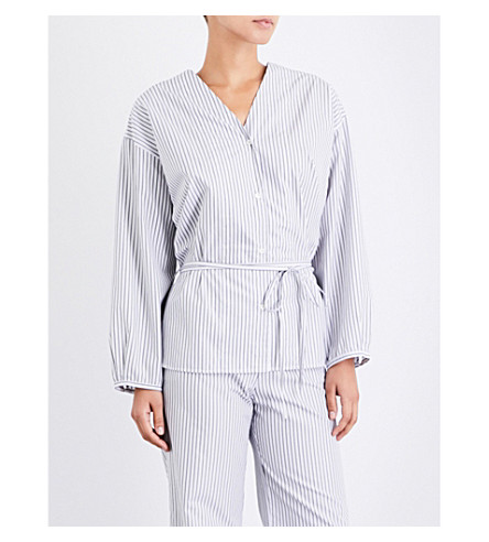 THREE GRACES LONDON Fillide tie-front cotton-poplin pyjama shirt (Black+white+stripe