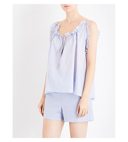 THREE GRACES LONDON Erissena cotton-voile top (Lavender