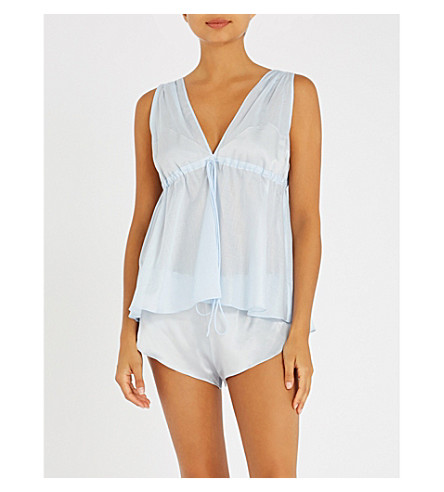 THREE GRACES LONDON Nellie and Ariel cotton-voile and silk-satin pyjama set (Blue