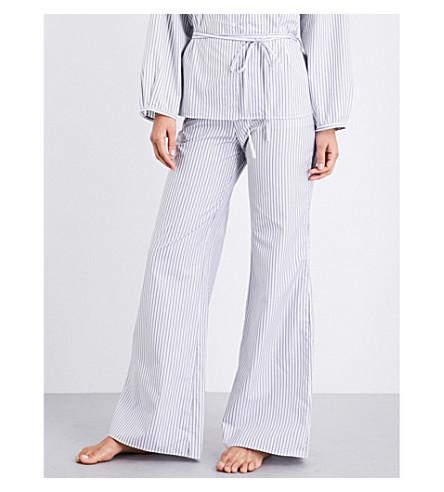 THREE GRACES LONDON Basilio cotton-poplin pjyama bottoms (Black+white+stripe