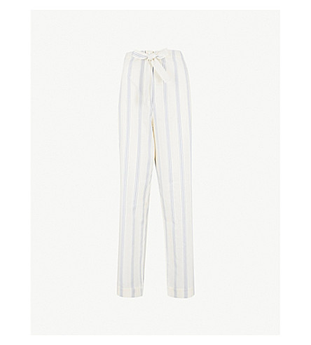 THREE GRACES LONDON Marmee cotton and linen-blend pyjama bottoms (Vega+stripe+cotton