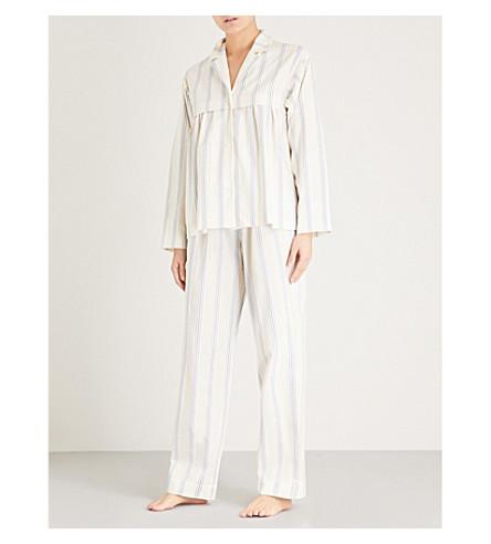 THREE GRACES LONDON Marmee cotton and linen-blend pyjama bottoms (Vega+stripe+cotton