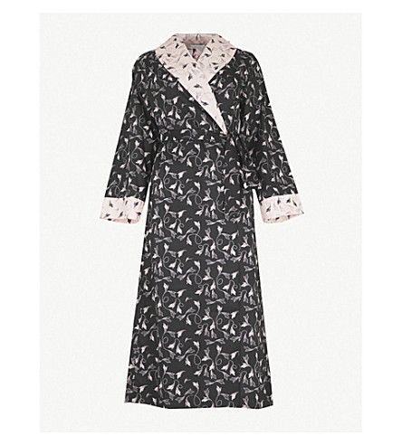 YOLKE Flapper cotton dressing gown (Blush+ink
