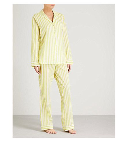 YOLKE Havana striped cotton pyjama set (Citrine