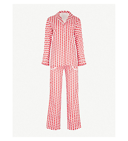 YOLKE Zigzag cotton pyjama set (Red+blush
