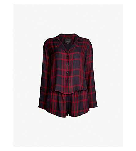 RAILS Checked jersey pyjama set (Black cherry