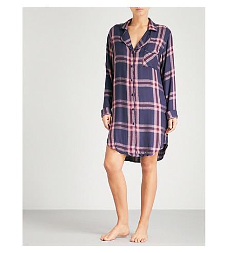 RAILS Check flannel sleep shirt (Admiral+c/berry+melange