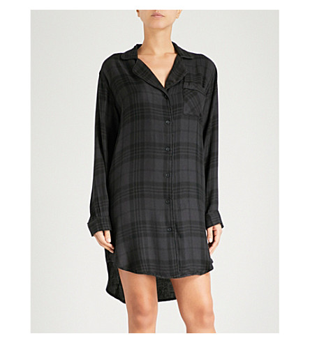 RAILS Check flannel sleep shirt (Onyx+jet