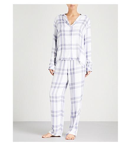 RAILS Check flannel pyjama set (White+chambray+petal