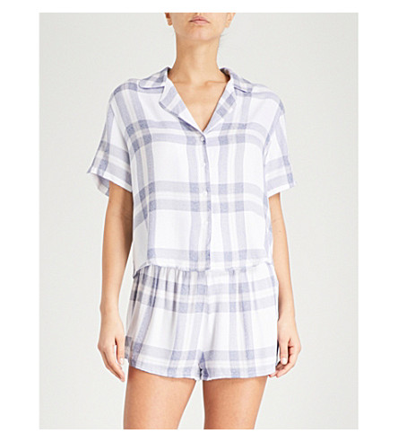 RAILS 格纹法兰绒睡衣套装 (白 + 布 + 花瓣