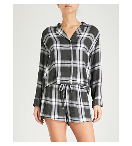 RAILS Check flannel pyjama set (Ash+bone