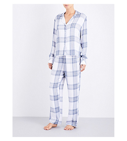 RAILS Checked woven pyjama top (White+indigo+melange