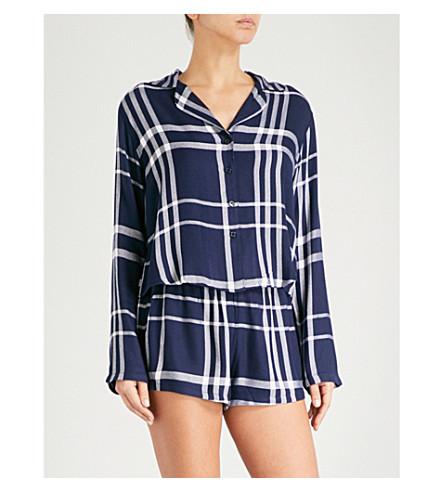 RAILS Check flannel pyjama set (Cadet+white