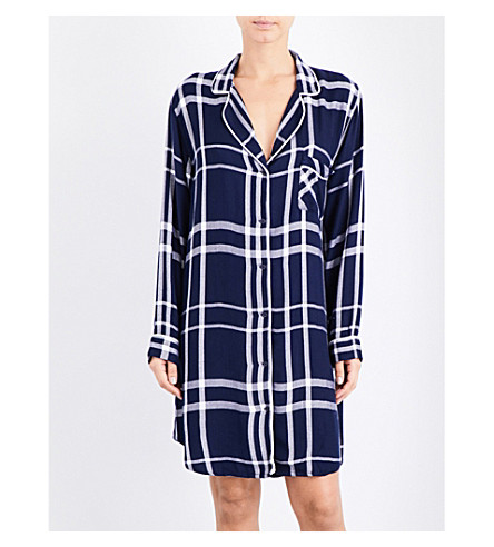 RAILS Checked woven sleep shirt (Cadet+white
