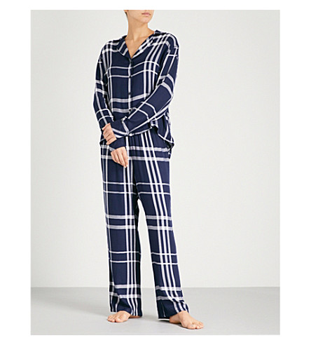 RAILS Check flannel pyjama set (Cadet+white