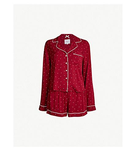 RAILS Heart-print jersey pyjama set (Red mini hearts