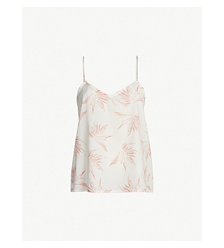 DESMOND AND DEMPSEY Deia cotton camisole pyjama top (White+pink