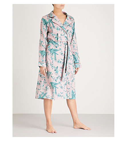 DESMOND AND DEMPSEY Bromley parrot cotton robe (Green+pink