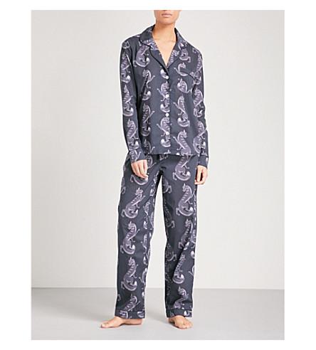DESMOND AND DEMPSEY The Fantastic Fox cotton pyjama set (Grey+black
