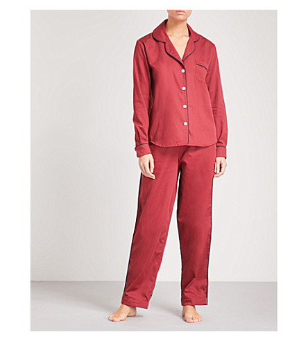 DESMOND AND DEMPSEY The Tinto cotton-sateen pyjama set (Red