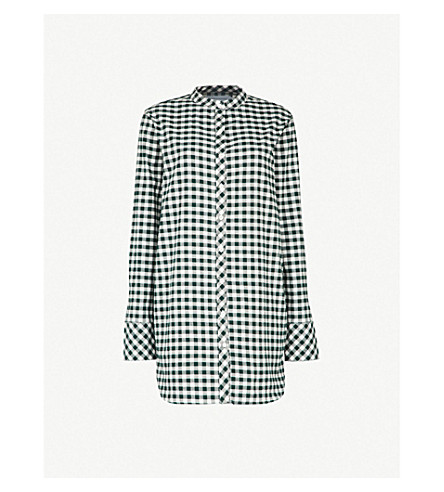 DESMOND AND DEMPSEY The Gingham brushed-cotton nightshirt (White+green