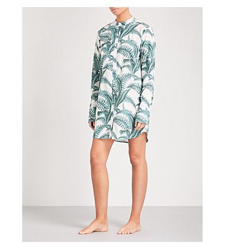 DESMOND AND DEMPSEY Fern cotton pyjama nightshirt (White+green