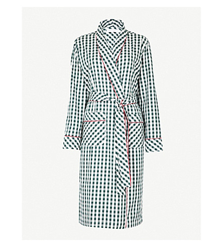DESMOND AND DEMPSEY The Gingham brushed-cotton robe (White+green