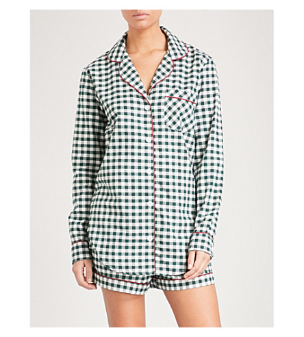 DESMOND AND DEMPSEY The Gingham brushed-cotton pyjama set (White+green