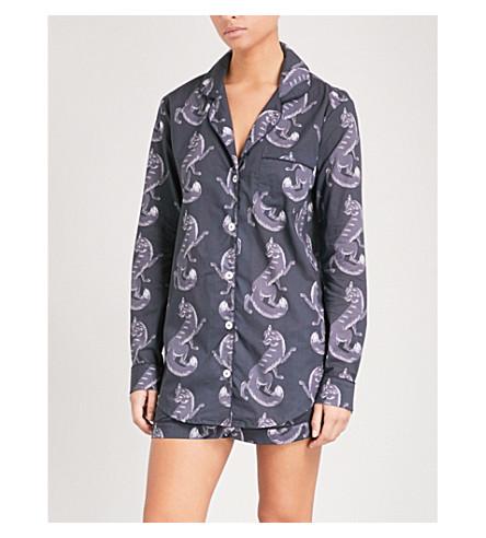 德斯蒙和登梦幻狐狸棉睡衣套装 (灰色 + 黑色