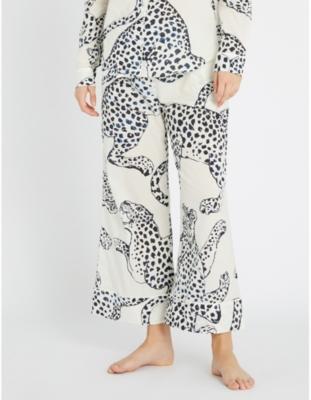 Wide-leg cotton pyjama bottoms