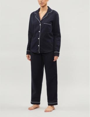Contrast-piping brushed-cotton pyjama set