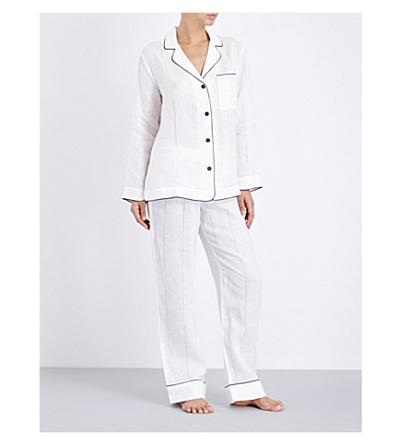 MORPHO AND LUNA Ines ajour long linen pyjama set (Snow