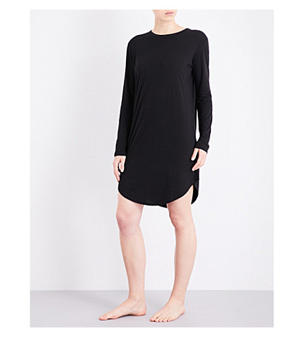 CHALMERS Wednesday bamboo and cotton-blend nightdress (Black+marle