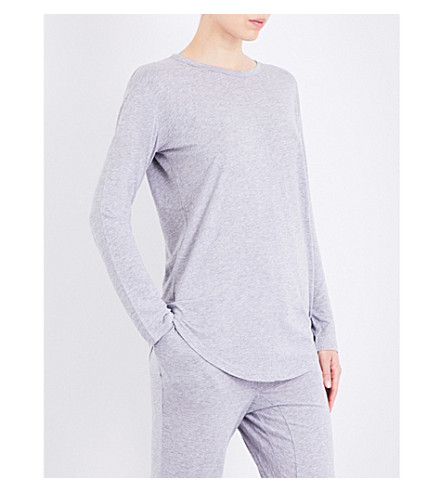 CHALMERS Issy bamboo and cotton-blend pyjama top (Grey+marle
