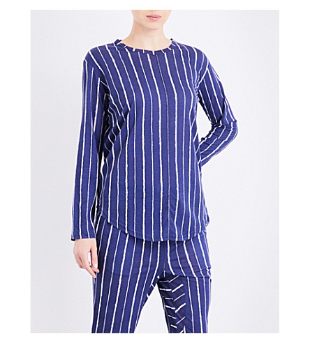 CHALMERS Issy bamboo and cotton-blend pyjama top (Coffee+stripe+navy