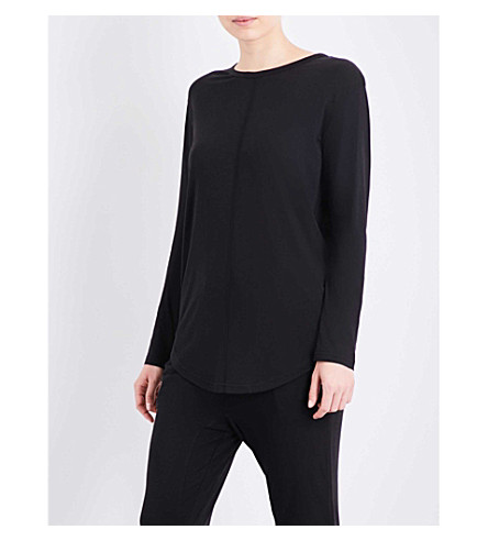 CHALMERS Issy bamboo and cotton-blend pyjama top (Black+marle