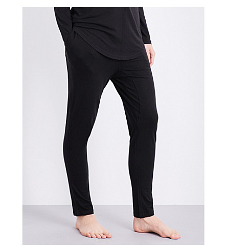 CHALMERS Alice bamboo and cotton-blend pyjama bottoms (Black marle