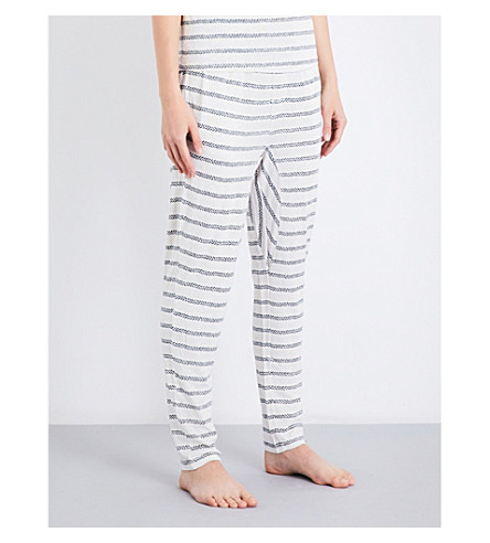 CHALMERS Alice bamboo and cotton-blend pyjama bottoms (Stripe+marle+green