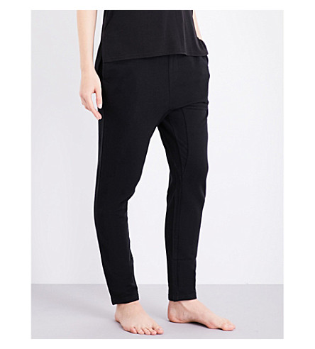 CHALMERS Tina bamboo and cotton-blend pyjama bottoms (Black+marle