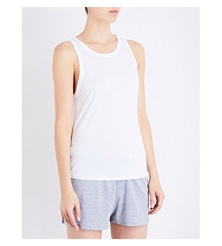 CHALMERS Sid bamboo and cotton-blend pyjama top (Plain+white