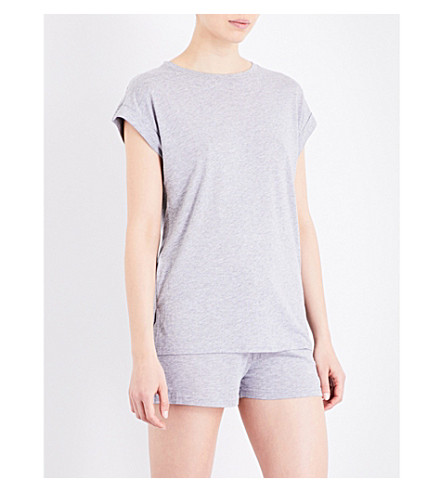 CHALMERS Lola bamboo and cotton-blend pyjama T-shirt (Grey+marle