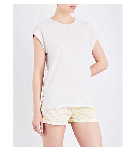 CHALMERS Lola bamboo and cotton-blend pyjama T-shirt (Oatmeal+marle