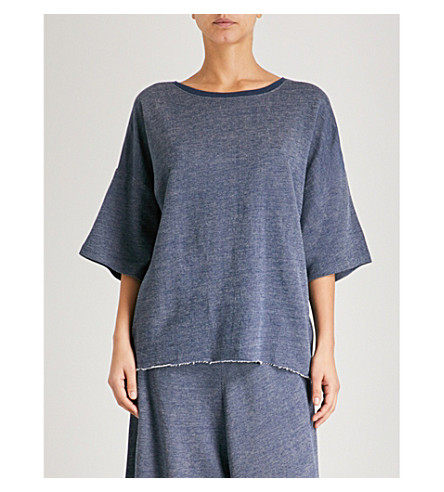 CHALMERS Soph woven pyjama top (Plain+navy+marle